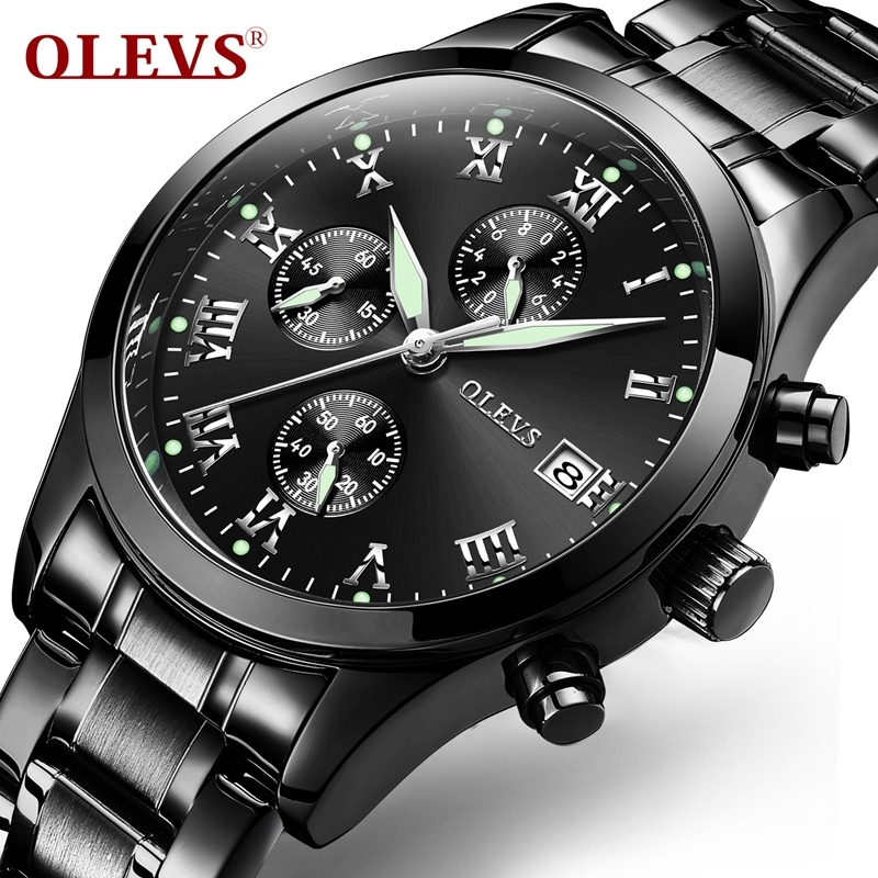 2018 Chronograph OLEVS Luminous Watches Men Quartz Top Brand Analog Black Wristwatch Stainless Steel Sports Watch relojes hombre burei men watch stainless steel sapphire glass quartz waterproof wristwatch chronograph analog man business watch relojes hombre