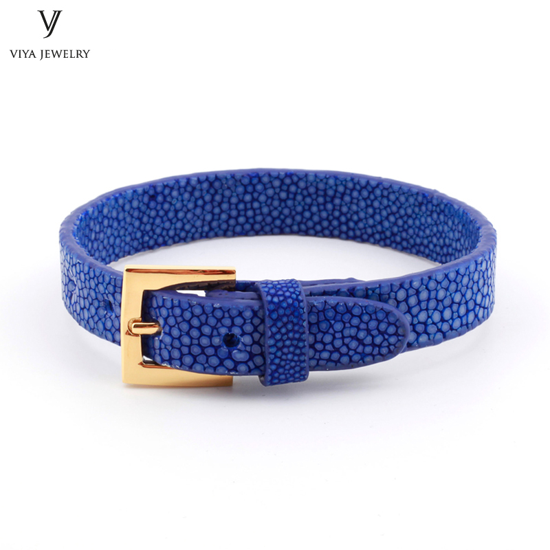 Simple Clasp Flat Stingray Python Cord Wrap Bracelet Charm Cuff Leather Men Bracelet 8mm Real Python Stingray Leather Wristband Adjust Bracelet (41)