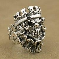 Ручной работы 925 стерлингового серебра Джокер Череп Клоун король мужские байкерские панк кольцо TA70A