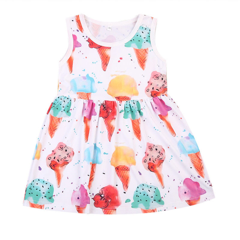 2017 Summer Girls Dress Princess Icecream Print Sleeveless Party Holiday Dress One Pieces Denim Sleeves Sundress Vestidos