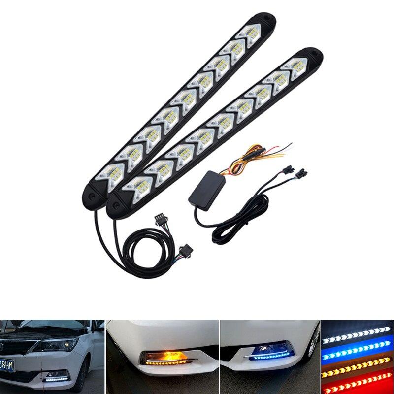 2Pcs LED DRL Daytime Running Luz Car Styling Streamer Dinâmico Fluxo de Advertência Âmbar Turn Signal Nevoeiro Day Lâmpada de Direção