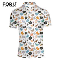 FORUDESIGNS Fashion Men Polo Shirt Cute Animal Cat Print Polo For Male Summer Style Short Sleeve