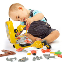 Construction Tools Toy Set for Baby Boy Plastic Chainsaw Screws Hammer Pretend Play Kids Suitcase Garden Carpentry Tool Box