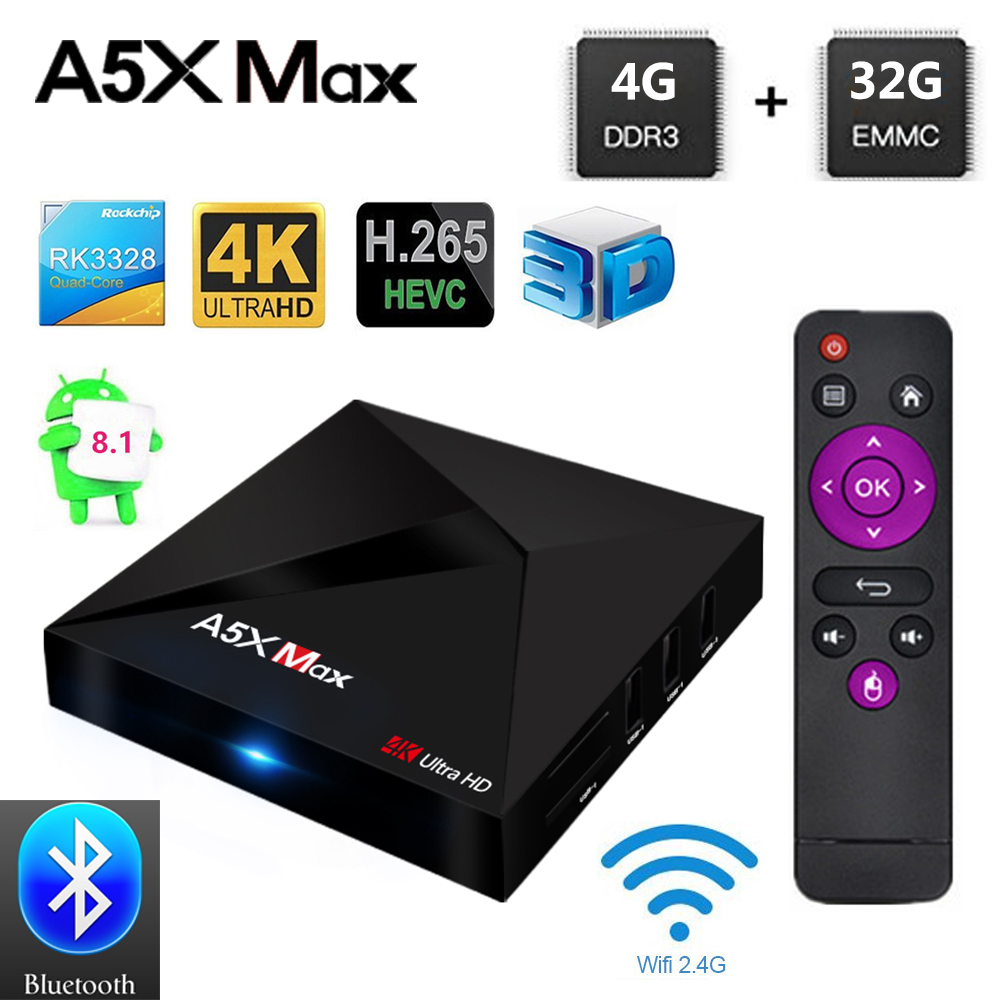 A5X MAX Android 8.1 TV Box RK3328 4GB RAM 32GB ROM USB 3.0 2.4GHz WiFi Bluetooth Media Player 4K HD Smart Set Top Box PK MX10 a5x max android 8 1 tv box rk3328 4gb ram 32gb rom usb 3 0 2 4ghz wifi bluetooth media player 4k hd smart set top box pk mx10