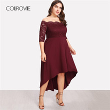COLROVIE Plus Size Maroon Sheer Off the Shoulder Asymmetrical Lace Party  Dress Women 2018 Solid Floral High Waist Midi Dresses 517813f0fa1a