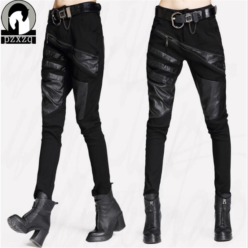 2019 New Arrivals Sexy Elastically-stretchable Black Splicing Leather Pants And Trousers For Women Black Harem Hip Hop Pants