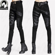 PZXZQ 2019 Sexy Elastically-stretchable Splicing Leather Pants Trousers For Women