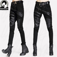 2018 New Arrivals Sexy Elastically stretchable Black Splicing Leather Pants And Trousers For Women Black Harem Hip Hop Pants
