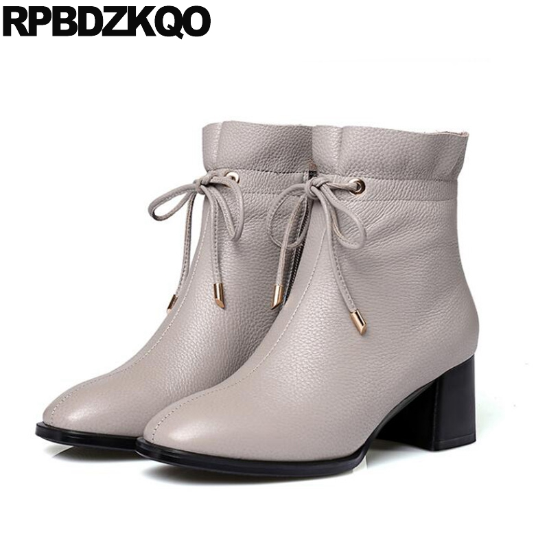 British Short Genuine Leather Ankle High Heel Chunky Grey Side Zip Boots Square Toe Lace Up Winter Fall Shoes 2017 Booties martins real leather plus velvet british style high heel womens fashion boots winter 2015 lace up pointed toe ankle side zip