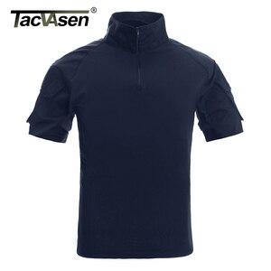 Image 1 - TACVASEN Mens הסוואה טקטי T חולצות קיץ קצר שרוול Airsoft צבא Combat חולצות ביצועים חולצות צבאי בגדים