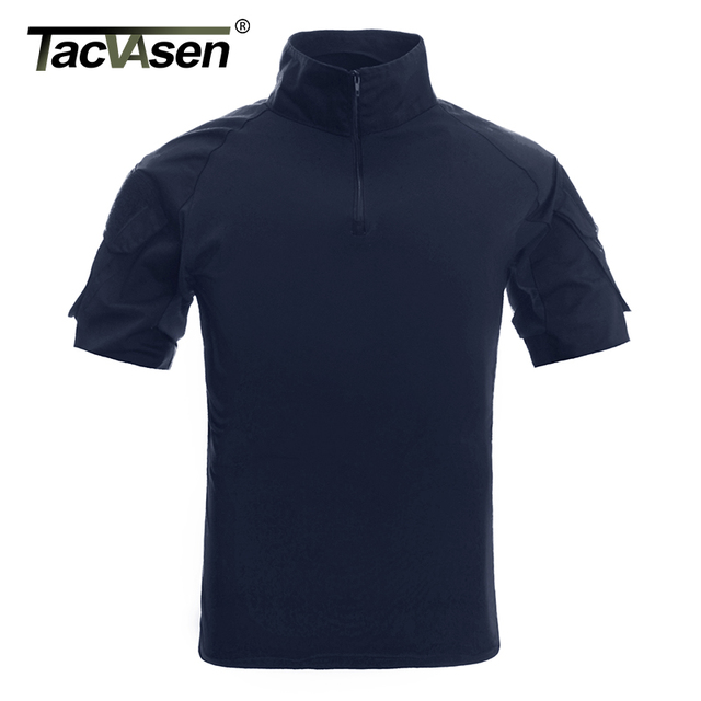 TACVASEN Mens הסוואה טקטי T חולצות קיץ קצר שרוול Airsoft צבא Combat חולצות ביצועים חולצות צבאי בגדים
