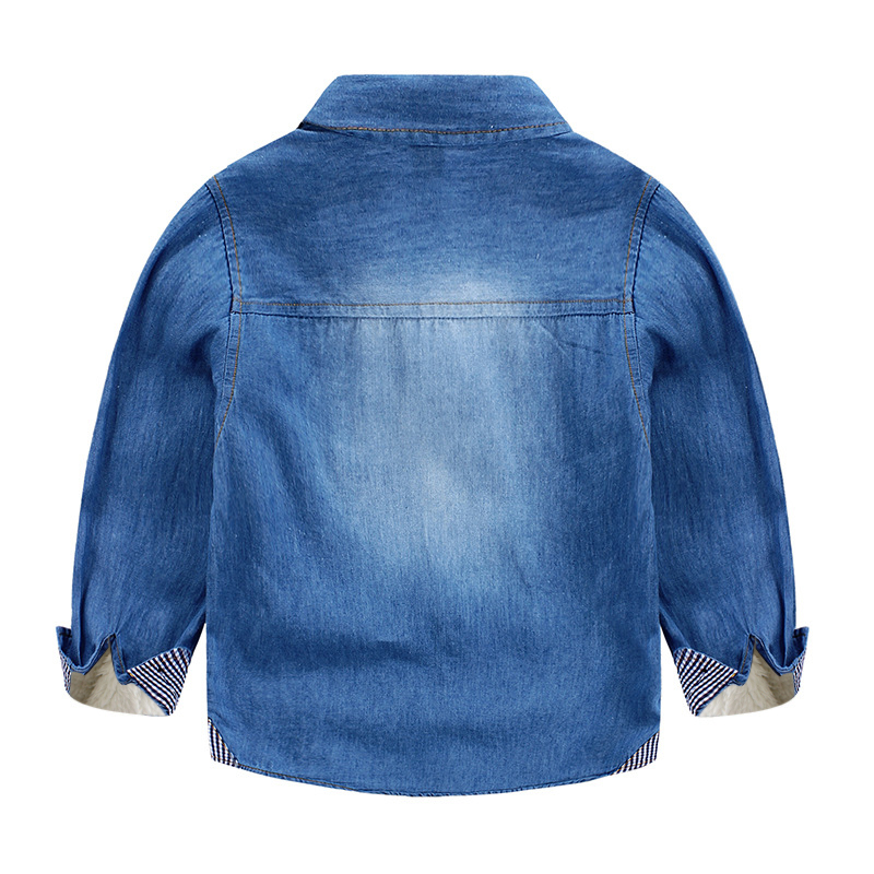 Boys Denim long sleeve Kids thicken wool winter warm shirts chemise - Children's Clothing - Photo 2
