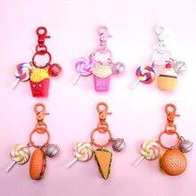Cute Burger Key chain Women Car Simulation Food Pendant Ring 2019 fashion cartoon Christmas birthday gift keychains