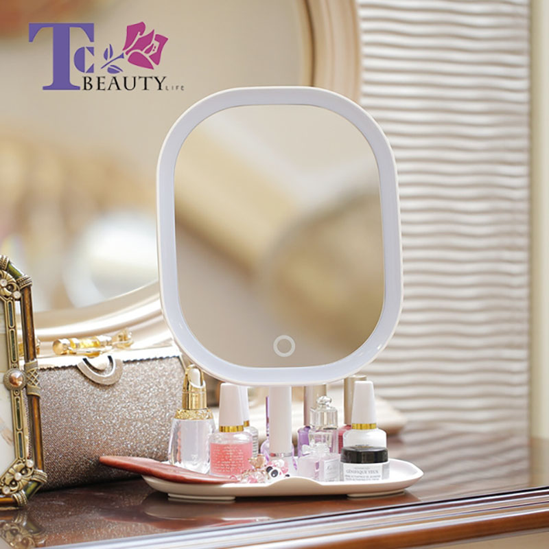LED Makeup Mirror With Light 5X Magnifyiny Portable Desklamp Rechargeable Touch Screen Cosmetic Mirror Multifuntional Storage 6 inch 5x magnification cosmetic makeup mirror round shape 2sided rotating magnifier mirror led light makeup mirror for gift