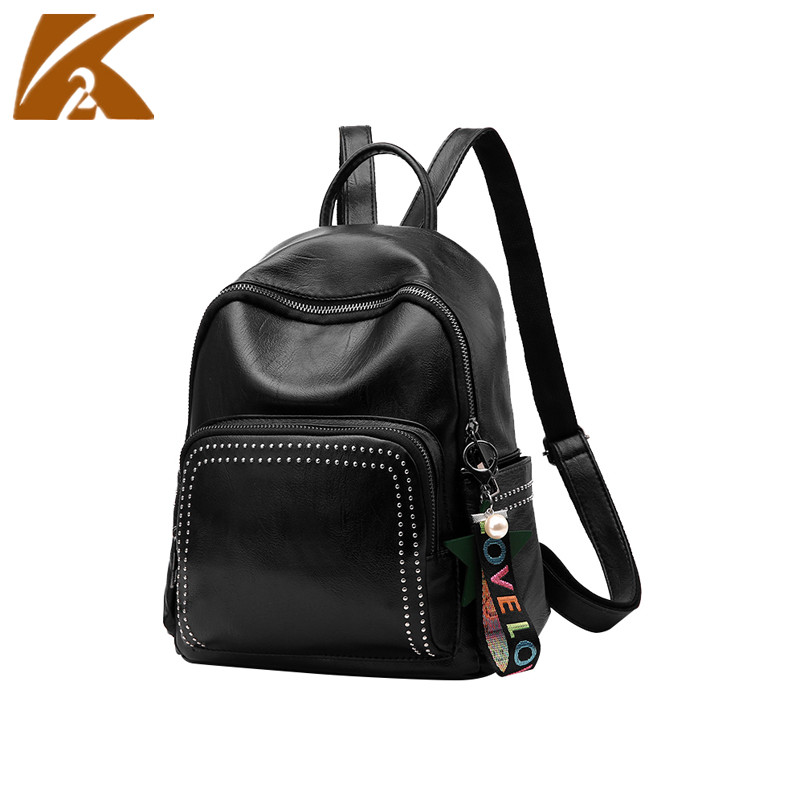 School Bags For Teenage Girls 2018 New Fashion PU Rucksack Leather Backpack Women Rivet Backpacks Mochila Escolar Back Pack Bag