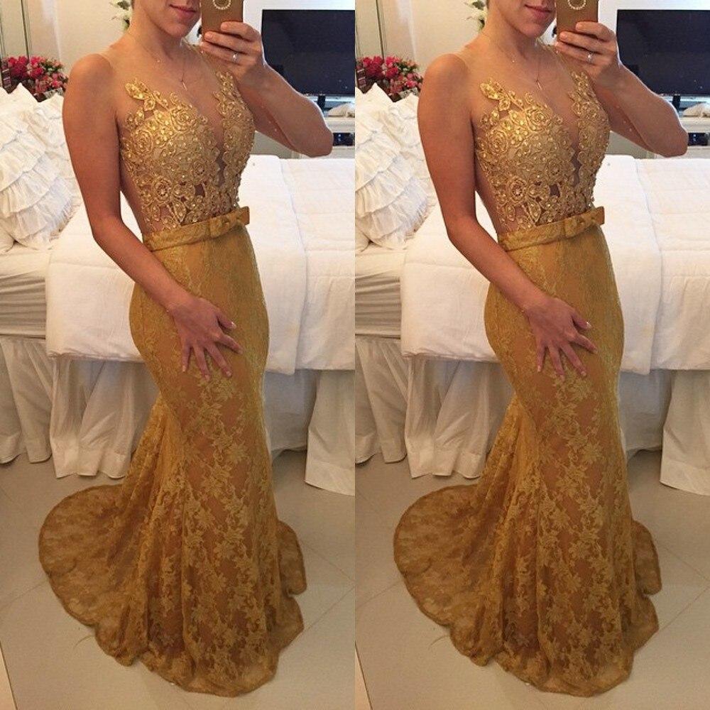 Sexy col en v or dentelle Applique belle dame robe longue robe de soirée Sexy transparent dos sirène 2018 mère de la mariée robes