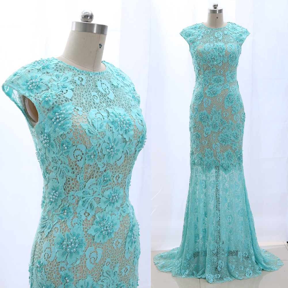 MACloth Turquoise Sheath Scoop Neck Floor-Length Long Beading Lace   Prom     Dresses     Dress   M 265157 Clearance
