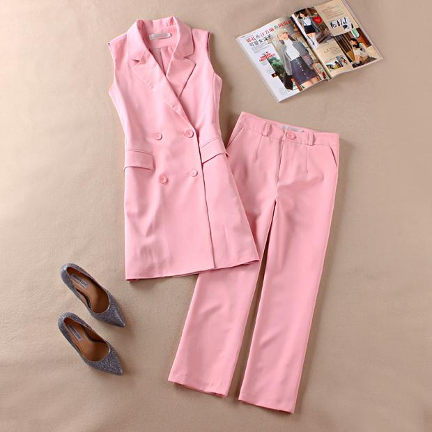 Pink long section of the Spring and Autumn new Women Korean two-piece suit vest spring wide leg pants suit