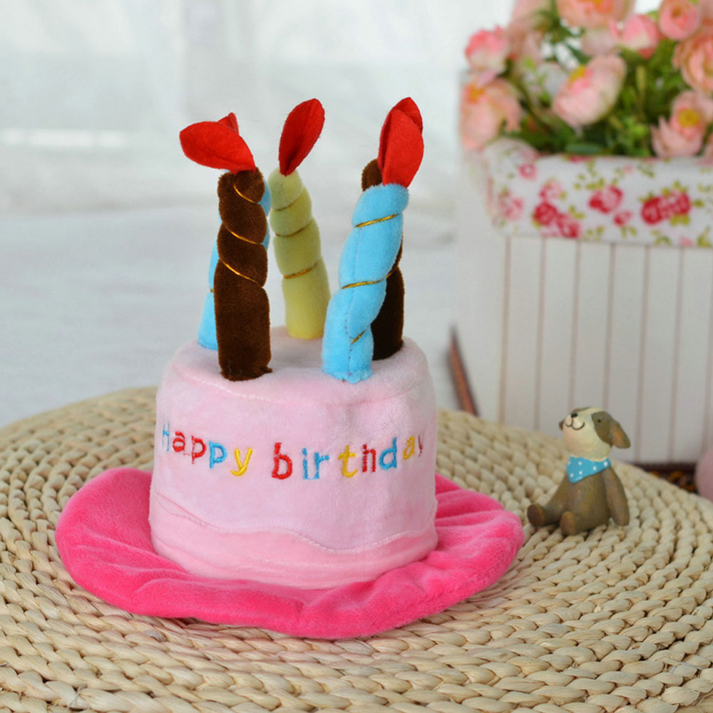 Cute Pet Dog Cake Shape Hat Blue Pink Fleece Puppy Supplies Accessories Happy Birthday For Cat