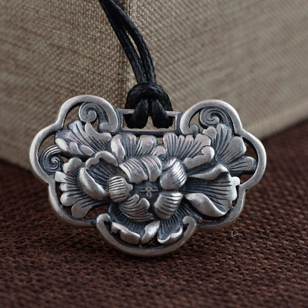 FNJ 925 Silver Flower Pendant 100% Pure S925 Solid Thai Silver Pendants for Women Men Jewelry Making