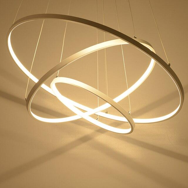 110v 220v Acrylic 3 2 Circle Rings Dining Room Lights Modern Led Avize Luminaire Lampen