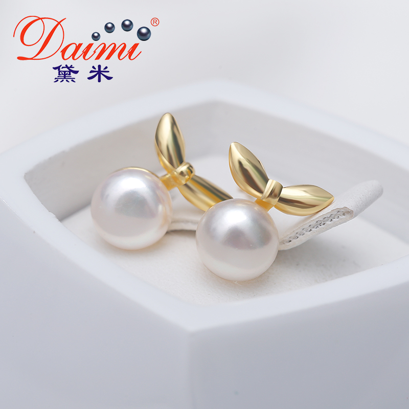 Daimi Tiny Small Leaves Earrings 6 7mm Flat Round White Yellow Pearl Sterling Silver Jewelry High Quality Brand In From