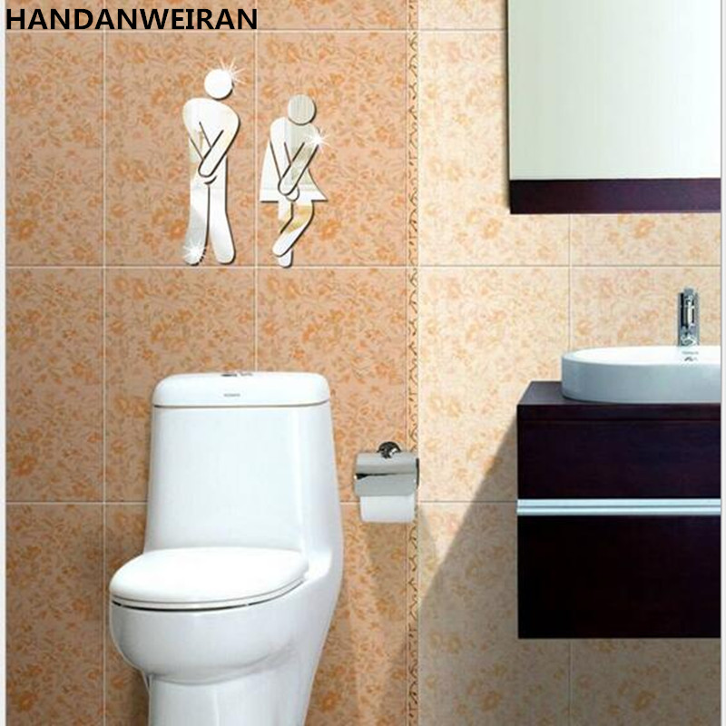 2piece u003d 1sets 3d diy acrylic mirror wall stickers toilet toilet bar stools men u0026 women logo mirror decorative self paste
