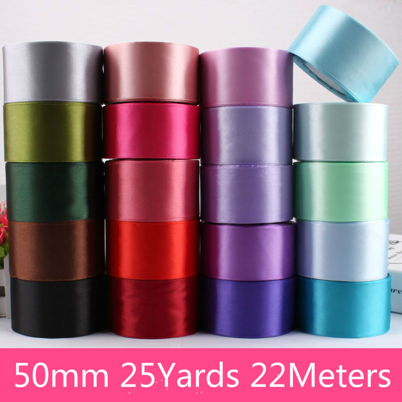 50mm 5cm Satin Ribbons 22 Meters/Roll Christmas Halloween Party Gift Wrapping Gold Red Black White Silver Purple Green Ribbons