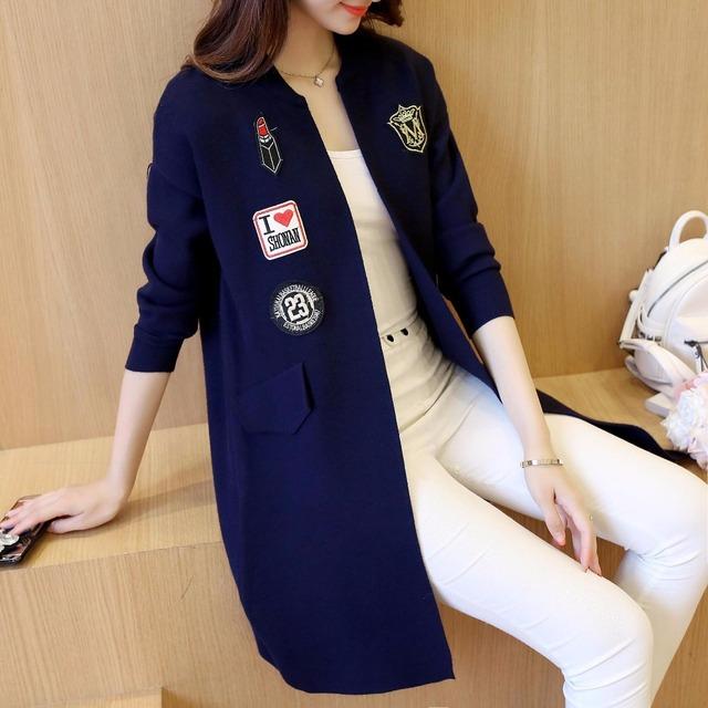 Nova Primavera e Outono Hitz longa seção de a falsa carta patch bolso cardigan sweater casaco mulheres de grande porte YF102