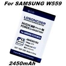 LOSONCOER 2450Amh AB463651BU AB463651BE pour samsung S239 W559 BATTERIE J808 S3830U F400 F408 J808E F278 S7270 C3730C C5180 C5190