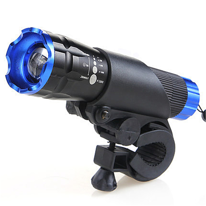 HOT Sykkelhode Lommelykt LED Sykkellys Front HeadLight Vanntett Mount Penlight 2000 Lumens Rotary Zooming Bike Lights