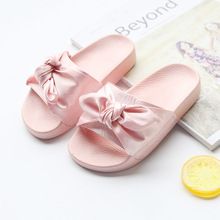 Princess Slippers Baby Girls Slippers with Bow Kids Summer Shoes Home Slippers Children Shoes Sandalias Mujer Bowknot Size 26-35