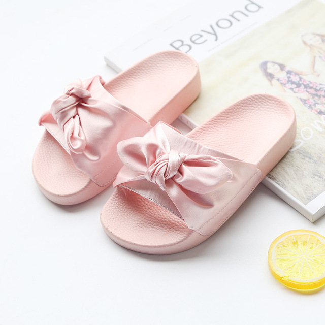 131f3b1e6 Princess Slippers Baby Girls Slippers with Bow Kids Summer Shoes Home Slippers  Children Shoes Sandalias Mujer Bowknot Size 26-35