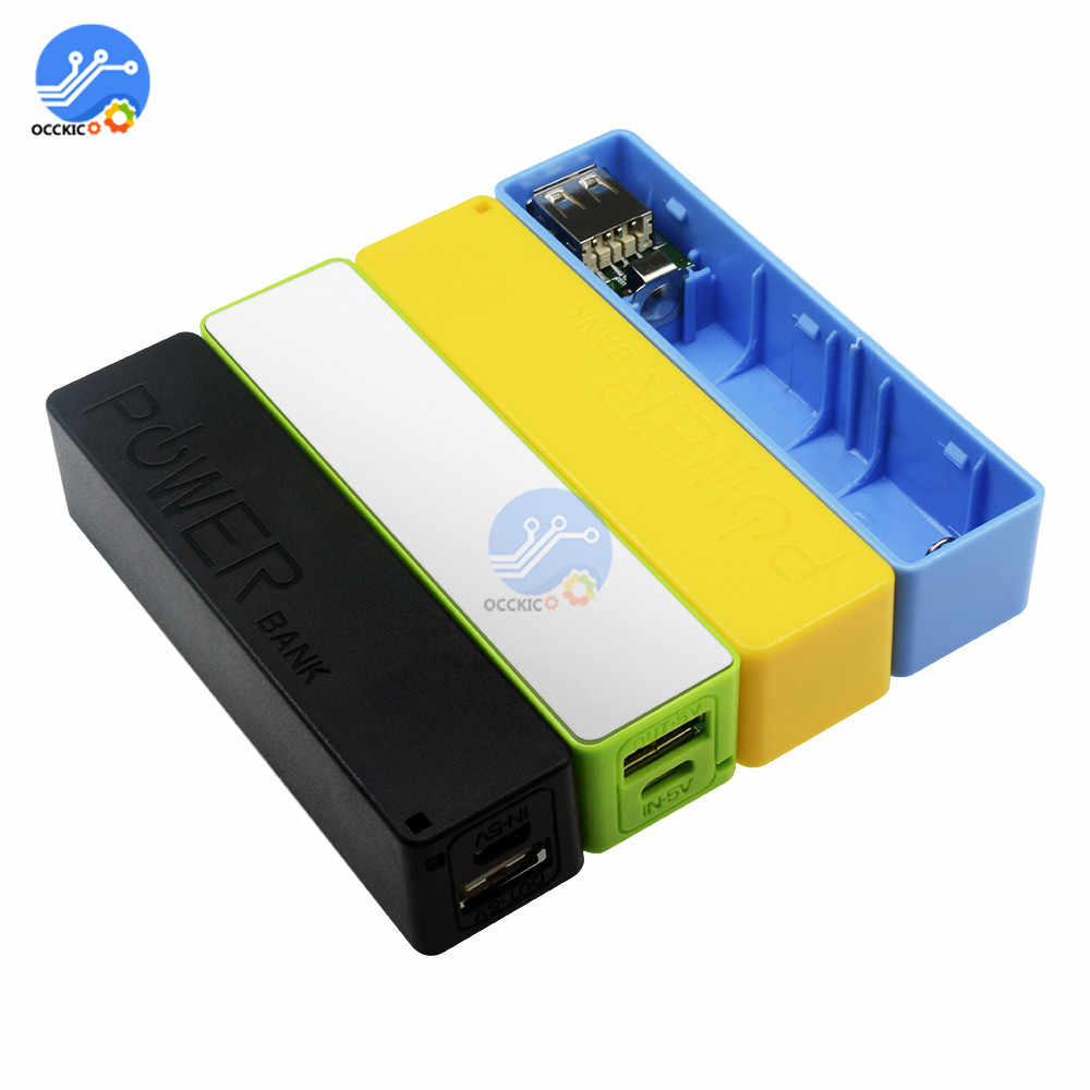 USB Power Bank Case Diy Kit Blue/Green/Yellow/Black/Pink/White 18650 Lithium Battery Charger Box Holder for 1800mAh 2200mAh