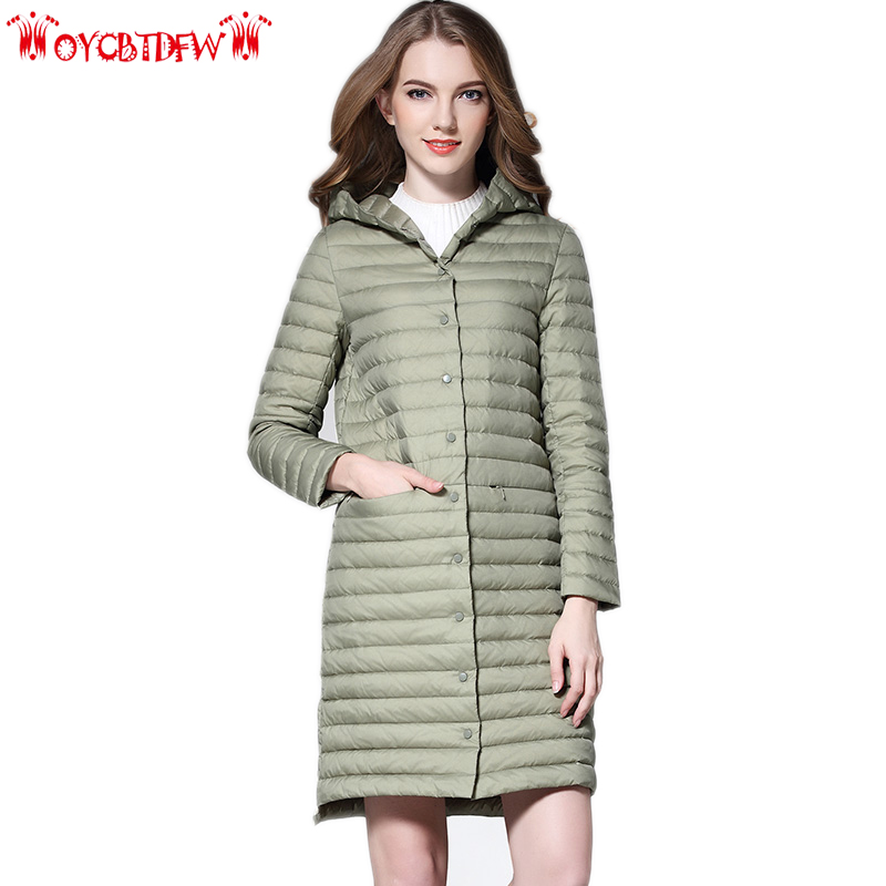 Winter thin section women down coat 2018 new pure color Large size mid long hooded Single-breasted warm female down jacket ll660