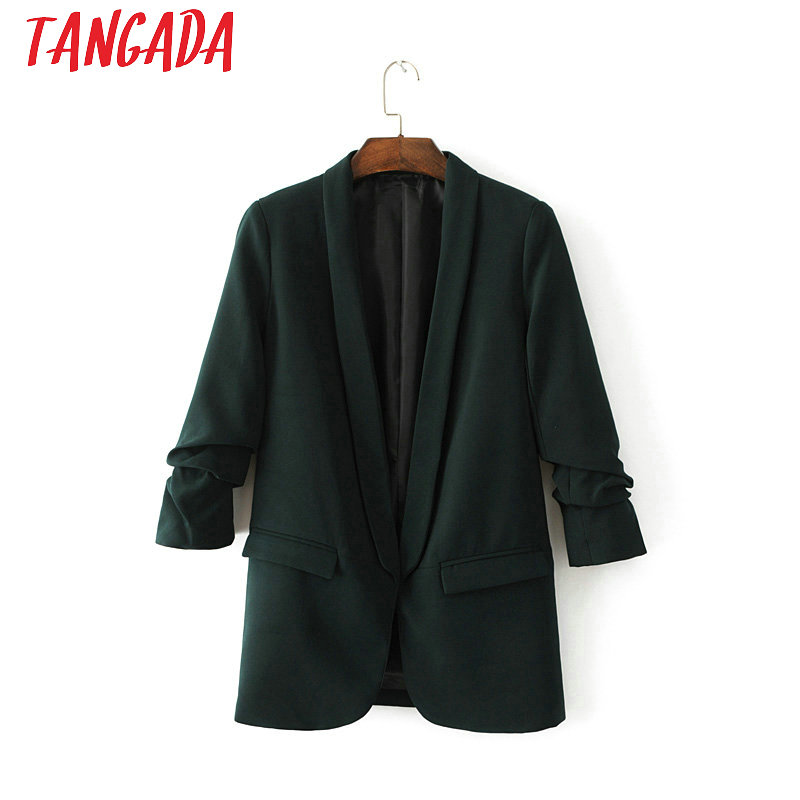 Tangada Black Women Blazers And Jackets Office Suit Female