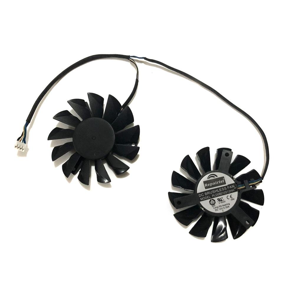 Envío libre 2 unids/lote radiador PLD08010S12HH ventilador para MSI Frozr gemelo III R6790 570GTX R6850 N460GTX R7950 HD7870