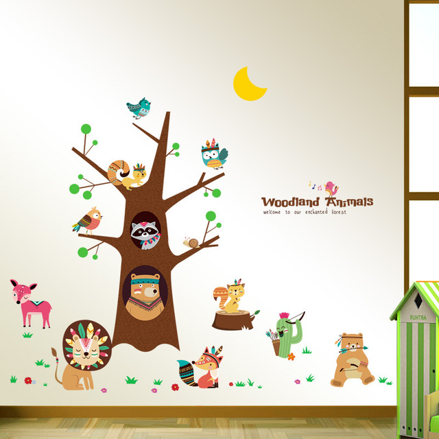 US $6.05 49% OFF|Cartoon Animal Tree Wall Sticker Children Bedroom Wall  Stickers For Kids Rooms Baby Baby Room Decoration Mural-in Wall Stickers  from ...