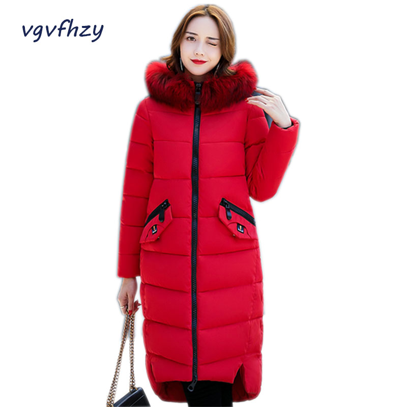 winter jackets women 2017 new Warm Thick coat Parkas  fashion Loose long jackets casual Fur Hooded Plus size outwearLu459