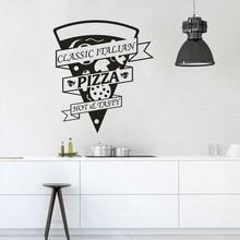 Classic Pizza Vinyl Wall Sticker Restaurant Kitchen Decor Logo Window Decals Tasty Pizzeria Poster AZ237