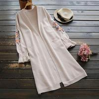 Fall New Fashion Cardigan Women Long Loose V Neck Long Sleeve Sweater Solid Color Floral Embroidery Cardigan Free Shipping 2017