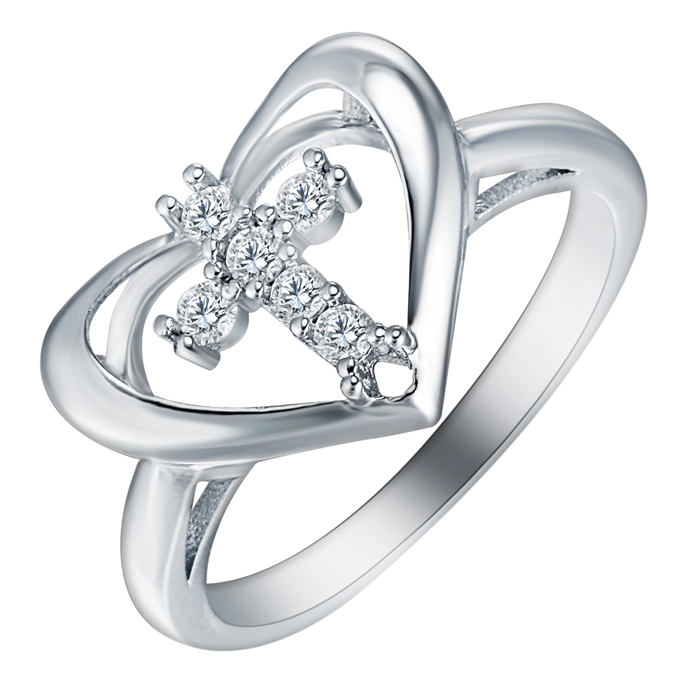 New Arrival Unique Cross Micro White Zircon Finger Ring for Lover Heart Shape love girl Wedding Party Elegant Fashion Jewelry