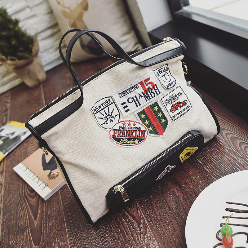 Free Shipping Fashion New 2017 Canvas Black Beige Big Girls Messenger bags Handbag Crossbody Bag SS004 new arrival messenger bags fashion rabbit fair for women casual handbag bag solid crossbody woman bags free shipping m9070