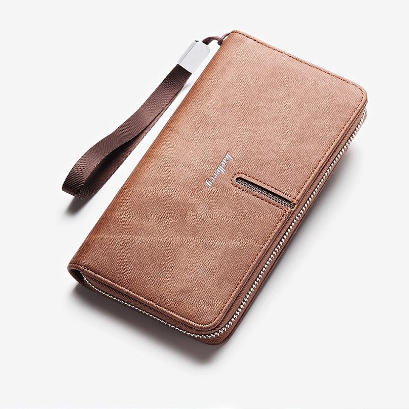 Newest style mens long high quality PU leather zipper wallets purse clutch for man with Wrist strap S1511
