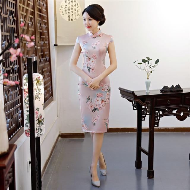 b5e6c6223 2019 New Pink Traditional Chinese Lady Satin Dress Elegant Print Flower  Short Sexy Cheongsam Handmade Button Slim Qipao