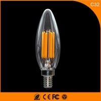 50PCS 5W E14 E12 LED Bulbs ,C32 LED Filament Candle Bulbs 360 Degree Light Lamp Vintage pendant lamps AC220V