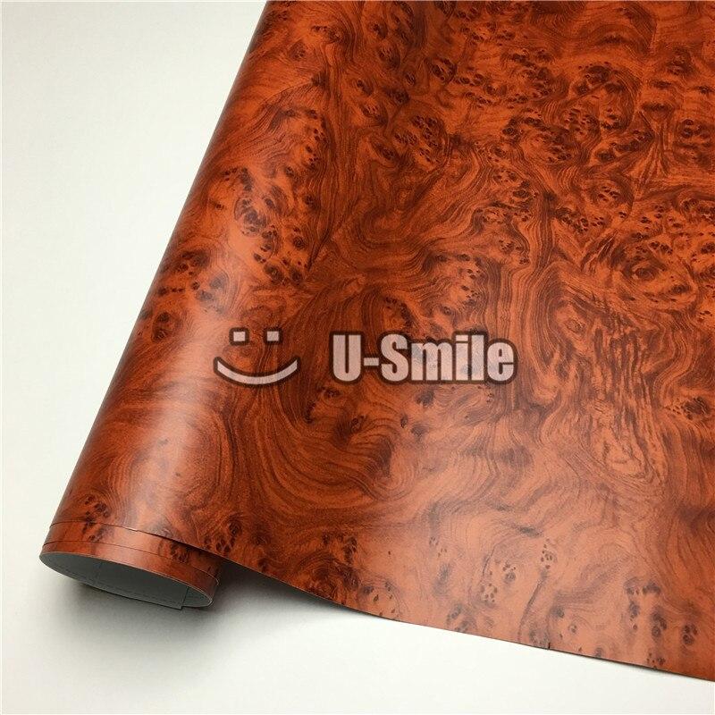 Film de vinyle de Grain en bois d'oeil d'oiseaux pour l'intérieur de voiture de meubles de mur taille: 1.24X50 m/Roll (4ftX165ft)