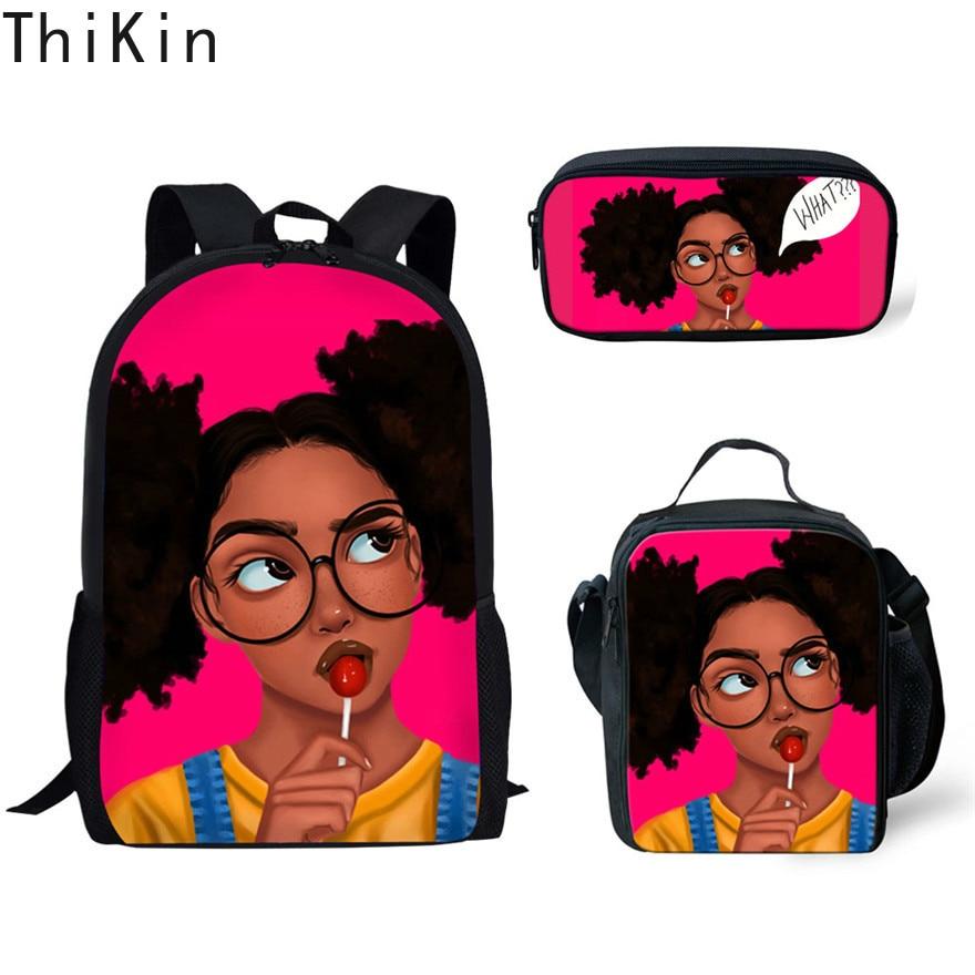 THIKIN Kids Backpack Girls For School Black Art African Girls Design Bagpack Children 3pcs/set Schoolbag Bookbag Mochila Escolar