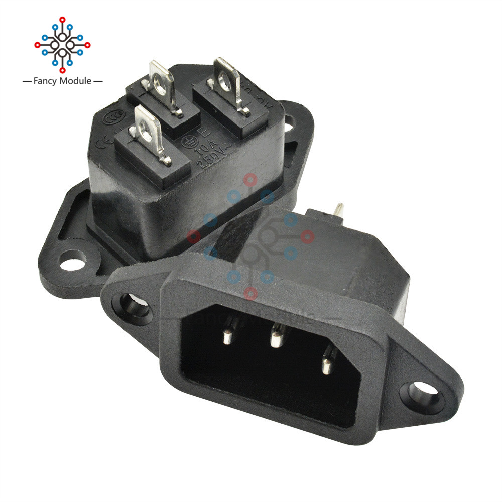 1 Piece AC 250V 10A IEC 320 C14 Panel Mount Plug Adapter Iron Core Power Connector Socket 3 Pins Inlet Power Plug Socket