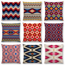 Colorful Aztec Geometric Pattern Tribal Prints Abstract Rainbow Ethnic Plaid Decorative Cushion Cover Sofa Throw Pillow